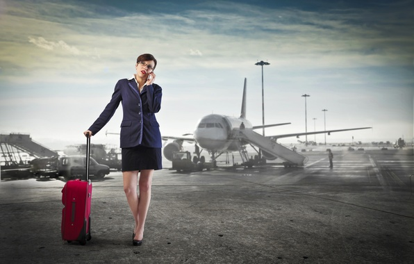 Picture the sky, woman, skirt, phone, airport, jacket, the plane, call, bag