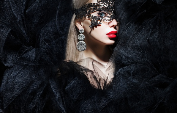 Picture look, girl, background, model, makeup, mask
