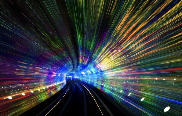 Picture road, lights, color tunnel