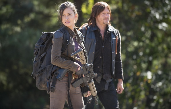 Picture weapons, background, equipment, The Walking Dead, The walking dead, Christian Serratos, Rosita
