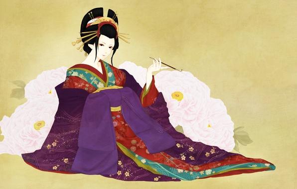 Picture girl, flowers, background, art, geisha, mouthpiece, kimono, peonies