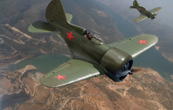 Picture the sky, figure, art, flight, aircraft, Soviet, single-engine, piston, fighter - diskoplana, high speed, I-16 …