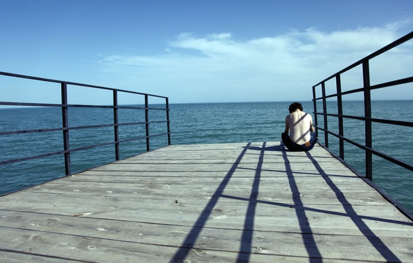 Picture SEA, HORIZON, The SKY, CLOUDS, PIER, PIERCE, GUY, SHADOW, PERILLA