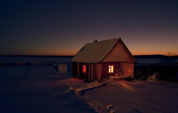 Picture winter, field, snow, night, nature, house, darkness, Wallpaper, sauna, frost, wallpaper, Russia, bath, path, the …