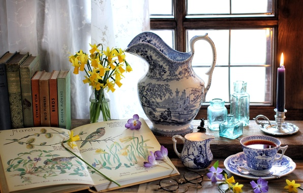 Wallpaper Flowers Tea Books Candle Window Glasses