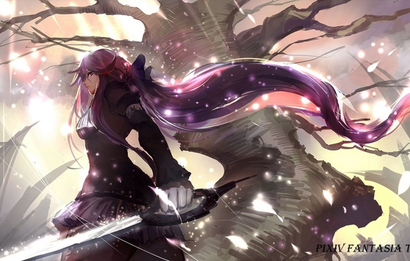 wallpaper girl weapons tree sword anime art pixiv fantasia
