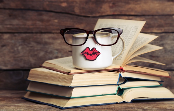 Picture books, coffee, glasses, mug, cup, lips, funny, glasses, cute, books, mustache