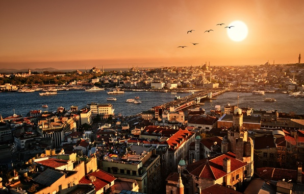 Picture sunset, city, the city, building, the evening, panorama, architecture, Istanbul, scenery, Istanbul, Turkey