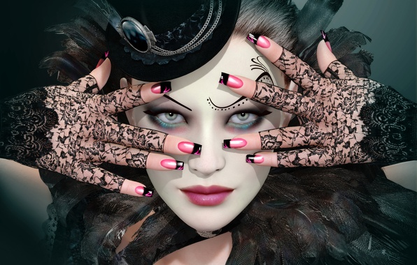 Picture girl, face, rendering, makeup, gloves, hat