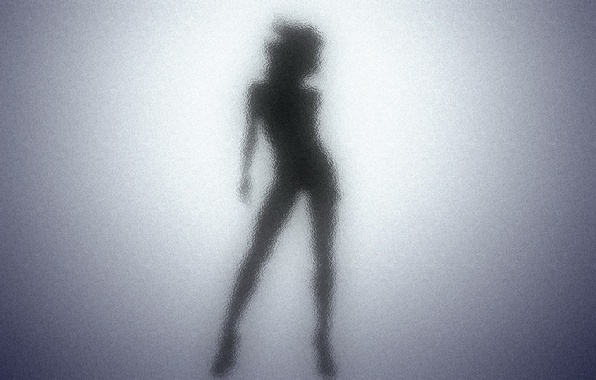 Picture black, Glass, shadows, female, silhouette