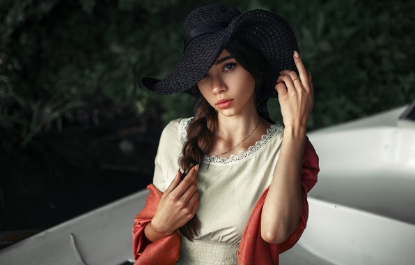 Picture look, girl, face, style, sweetheart, boat, portrait, hat, dress, light, brown hair, handle, Julia, Cape, …