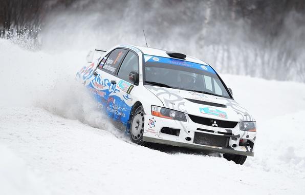 Picture Winter, White, Snow, Machine, Skid, Mitsubishi, Mitsubishi, Car, Evolution, Rally