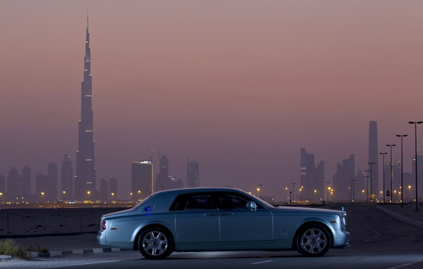 Picture road, car, machine, the sky, city, the city, lights, lights, building, Dubai, road, sky, dubai, ...