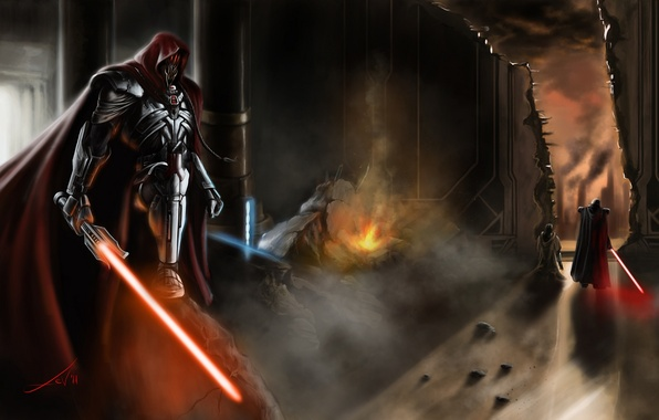 Picture the city, fire, smoke, the building, sword, art, opening, star wars, cloak, men, the room, …