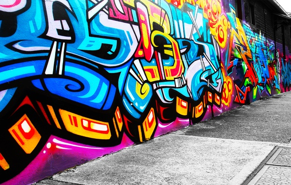 Picture style, wall, patterns, paint, figure, colors, wall, graffiti, style, patterns, 1920x1080, picture