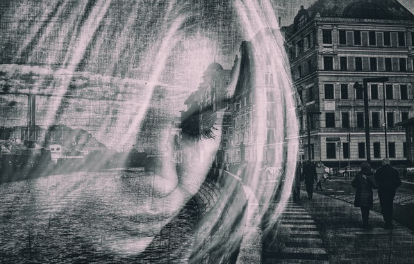 Picture girl, the city, portrait, passers-by, overlay