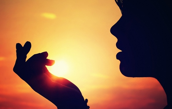 Picture the sky, girl, the sun, sunset, face, hand, silhouette