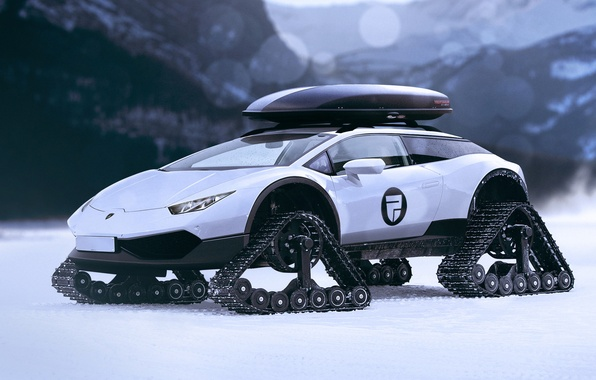 Picture Concept, Lamborghini, White, Tracks, Huracan, LP610-4, Caterpillar, Rain Prisk