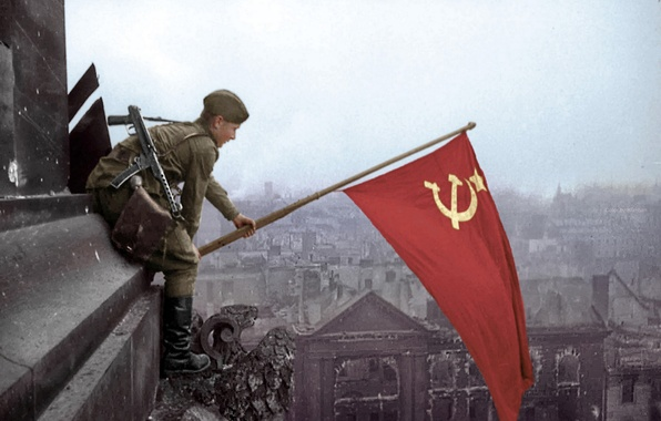 Picture Victory, The Reichstag, Berlin 1945, Russian soldiers, The Victory Banner