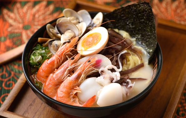 Picture egg, shrimp, seafood, squid, shellfish