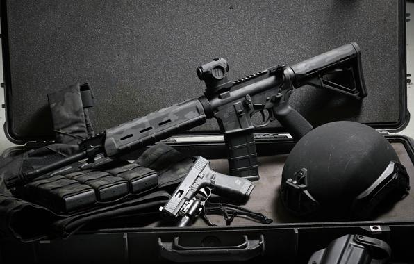 Picture gun, weapons, background, suitcase, helmet, Glock, assault rifle