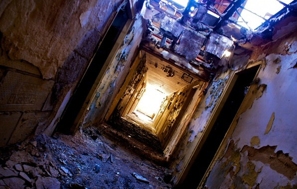 Picture dirt, ruin, halls, heater, light at the end of the tunnel, fallen roof, doors, peeling …