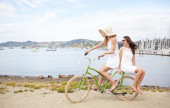 Picture beach, summer, bike, girls
