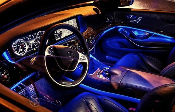 Picture blue, Mercedes-Benz, neon, salon, AMG, s-class, W222, S63