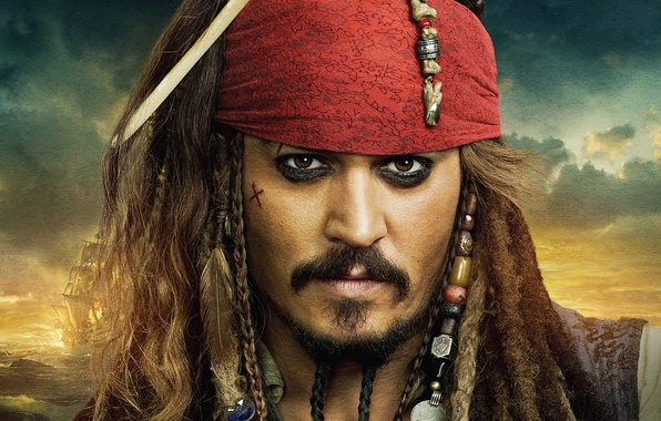 Picture pirates of the Caribbean, Jack Sparrow, johnny Depp, on stranger tides