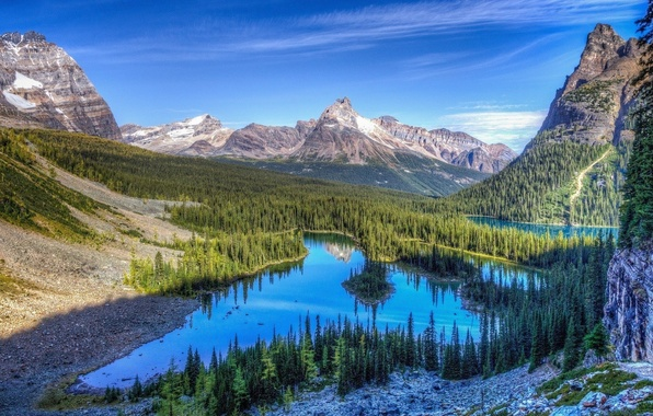 Picture forest, the sky, clouds, snow, lake, rocks, Mountains