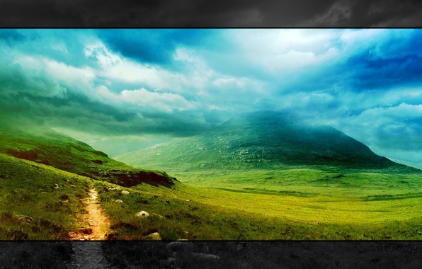 Picture greens, grass, clouds, landscape, mountains, nature, style, widescreen, landscape
