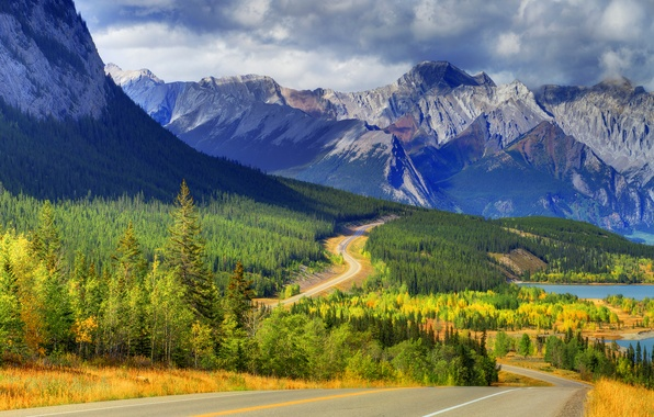Picture road, autumn, forest, the sky, clouds, trees, mountains, clouds, lake, Canada, alberta, banff, abraham lake