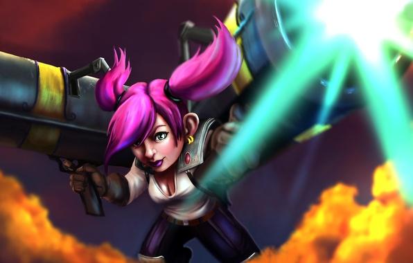 Picture girl, weapons, gun, dwarf, art