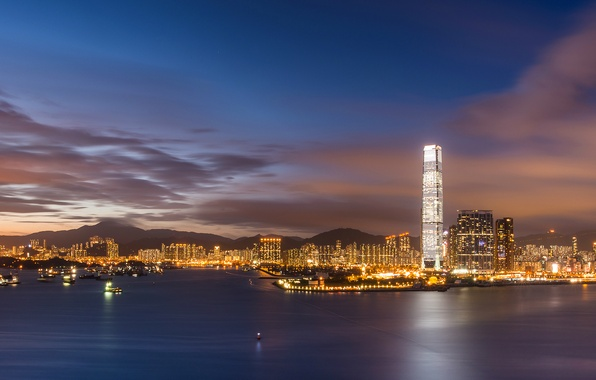 Picture the sky, clouds, sunset, lights, China, Hong Kong, skyscrapers, the evening, backlight, Bay, China, megapolis, ...