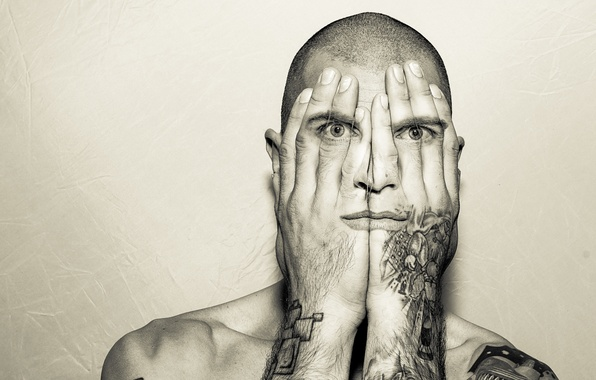 Picture eyes, mouth, hands, tattoo, male, eyes, man, tattoo, digital art, hands, mouth, digital art