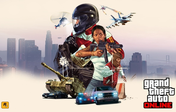 Picture girl, machine, the city, weapons, collage, police, aircraft, helicopter, tank, helmet, poster, GTA, Grand Theft …