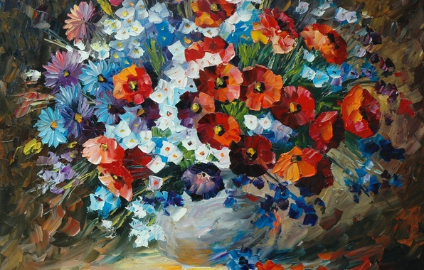 Picture flowers, bouquet, petals, pictures, vase, painting, Leonid Afremov