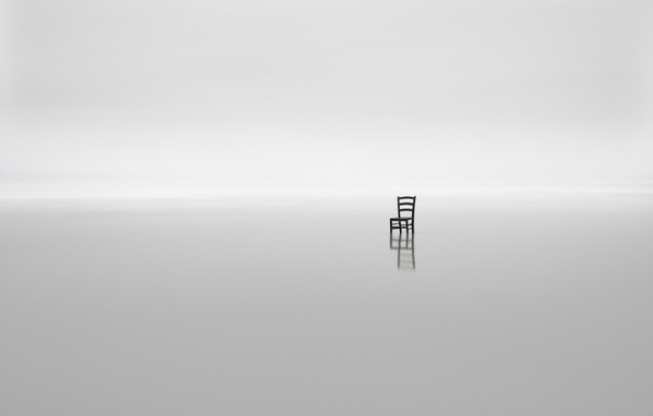 Picture sea, fog, minimalism, chair