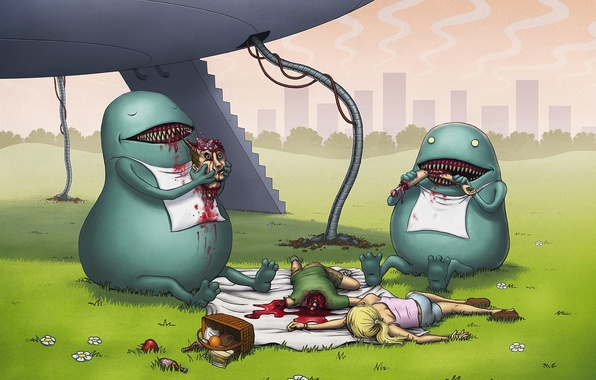 Picture people, figure, UFO, food, monsters, picnic, aliens, corpses