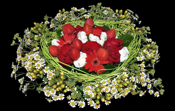 Picture BACKGROUND, STRAWBERRY, BLACK, ROSES, CHAMOMILE, BOUQUET, COMPOSITION