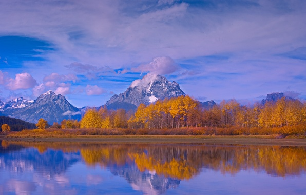 Picture autumn, the sky, clouds, snow, trees, mountains, nature, lake, reflection