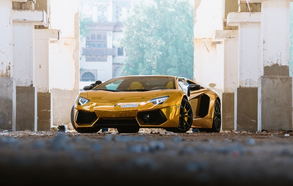 Picture Roadster, Lamborghini, Golden, Aventador