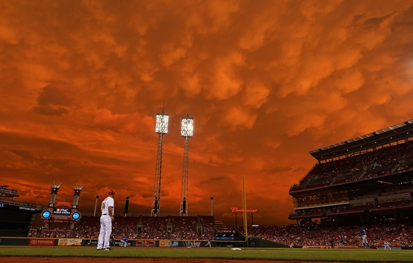 Picture the sky, clouds, the game, baseball, stadium