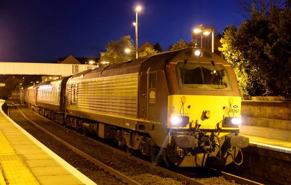 Picture lights, the way, rails, train, station, the evening, cars, the platform, locomotive, passenger, train