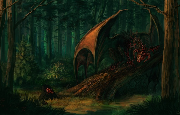 Picture forest, look, trees, fiction, stone, wings, the demon, art, horns