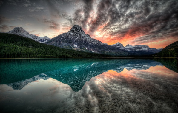Picture sunset, mountains, lake, reflection, Canada