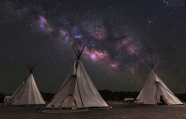 Picture the sky, stars, the milky way, wigwam, tipi, home of the Indians