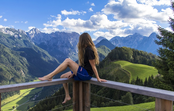 Picture forest, summer, the sky, girl, clouds, trees, landscape, mountains, shorts, height, valley, Alps, t-shirt, brown …
