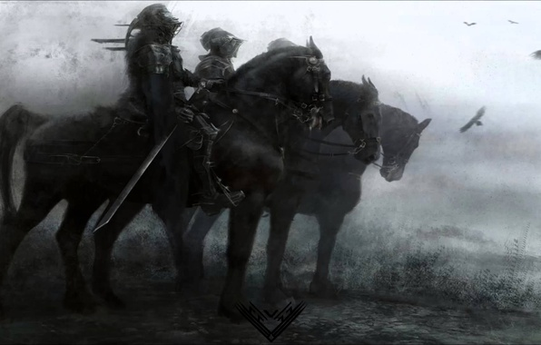 Picture forest, grass, armor, art, riders, knights, e-mail, Eve Ventrue