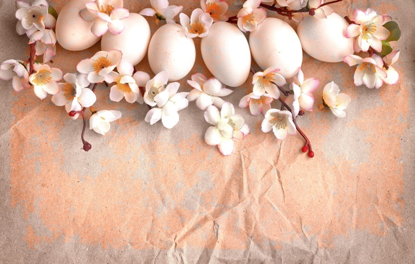 Picture flowers, branches, paper, holiday, eggs, spring, Easter, vintage, Easter